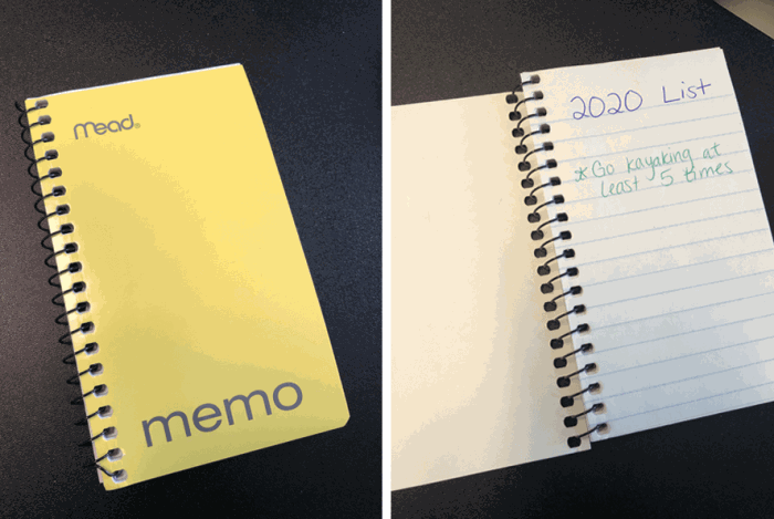 Small notebook with 2020 bucket list items written in it